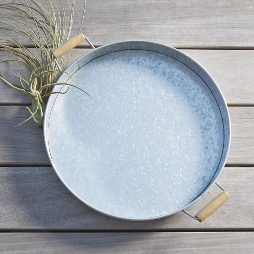 Hailee Round Metal Serving Tray with Handles