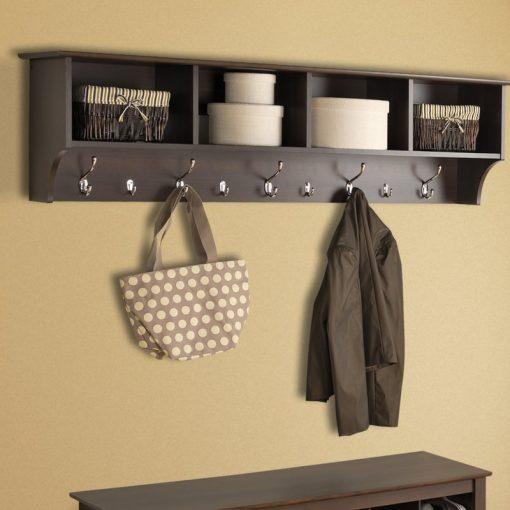 Haley Hanging Entryway 9 Hook Wall Shelf