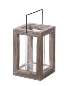 Harley Rustic Weathered Country Style Wooden Candle Lantern