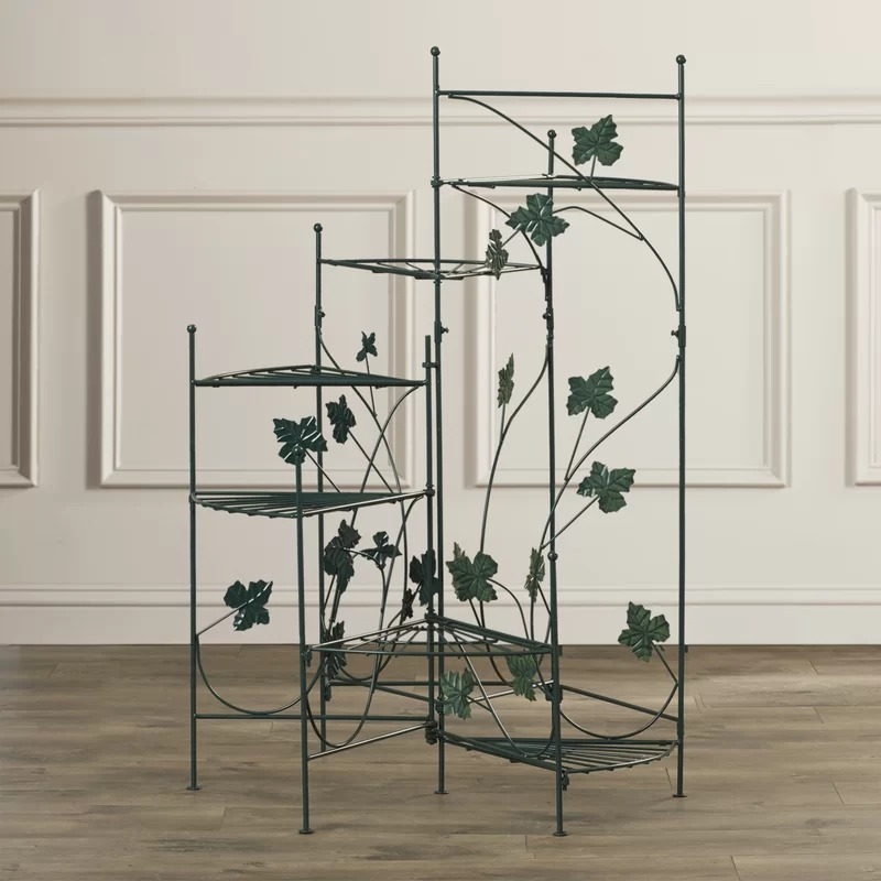 Motown Green Metal Construction Climbing Vines Multi-Tiered Plant Stand