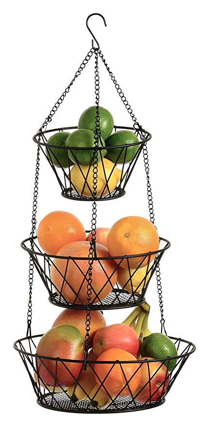 Poppin Tier Wire Detachable Customizable Round Hanging Fruit Baskets