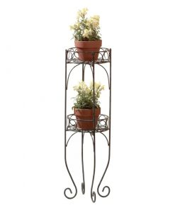 Coconut Verdigris Style Metal Two Tier Plant Display Stand