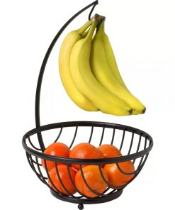 Fruit Black Metal Fruit Basket Bowl with Banana Tree Hanger