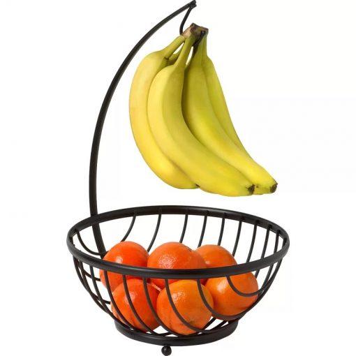 Fruit Black Metal Fruit Basket Bowl with Banana Tree Hanger