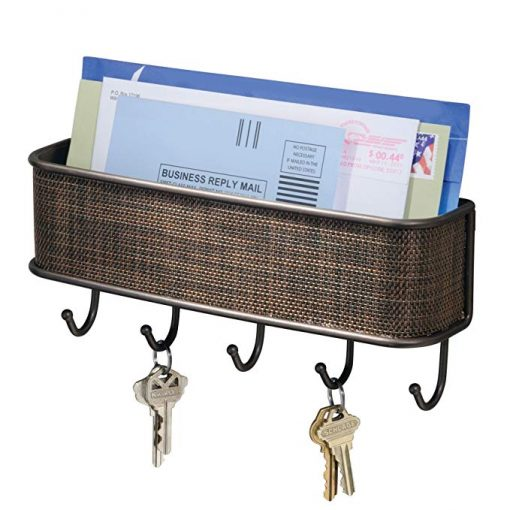 Morgan Decorative Wall Mounted Key Rack Pocket and Letter Sorter Holder