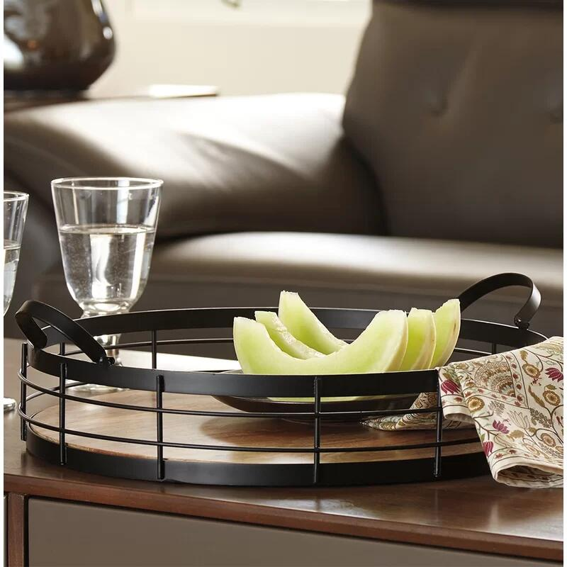 Irina Black Round Wooden Bottom and Metal Serving Tray with Handles