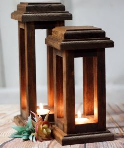 Kalib Rustic Rectangular Reclaimed Wood Frame Candle Lanterns