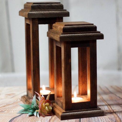 Kalib Rustic Rectangular Reclaimed Wood Frame Candle Lanterns