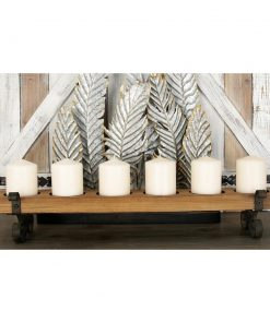 Ragonda Rustic Distressed Iron and Wood Six Light Candle Holders