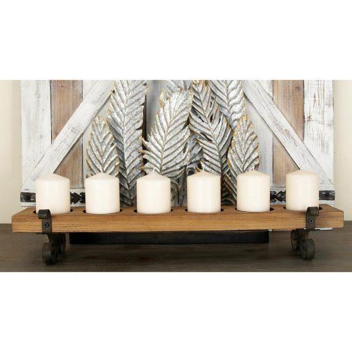Ragonda Rustic Distressed Iron and Wood Six Light Candle Holders