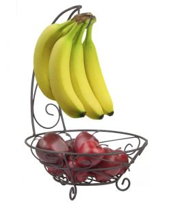 Lou Rota Simple Houseware Fruit Basket Bowl with Banana Tree Hanger