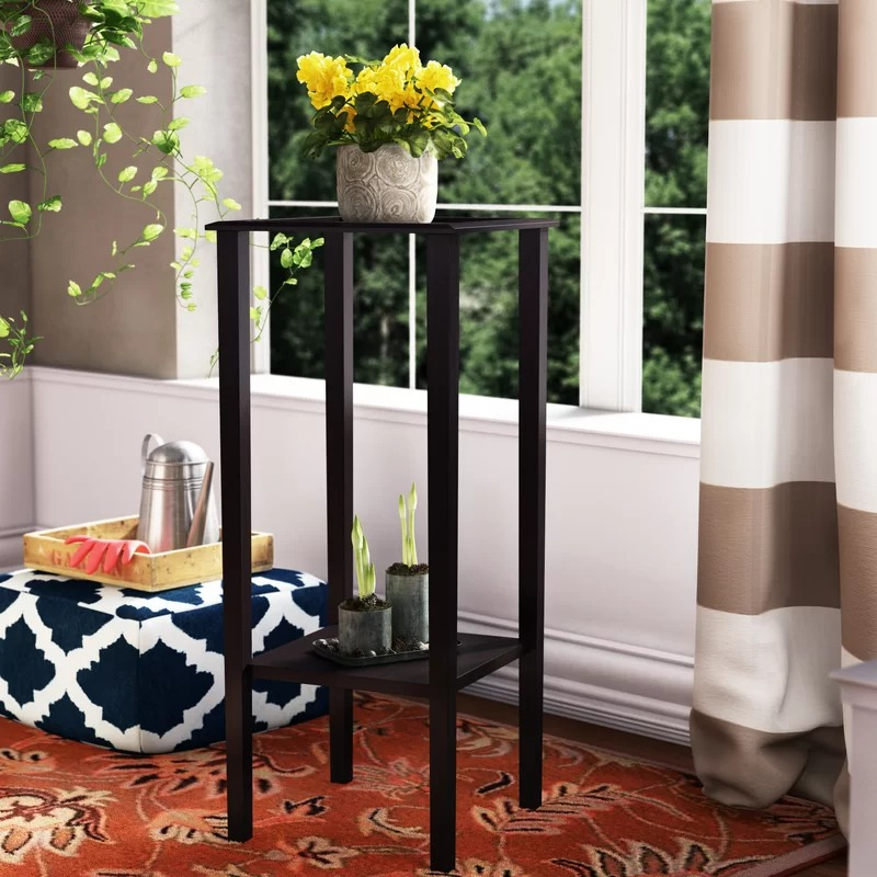 Wicker Square Plant Stand With Bottom Storage Shelf