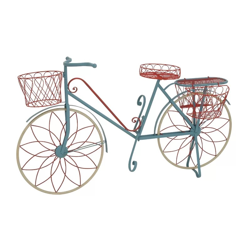 Jayne Turquoise, Red and Green Metal Bicycle Plant Stand