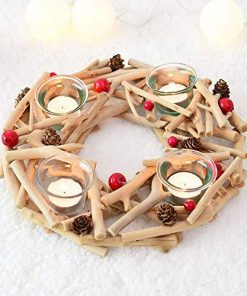 Maison Christmas Ornaments Driftwood Pine Cones Wreath Wooden Candlestick