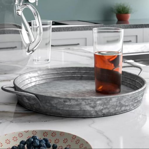 Maison Galvanized Round Metal Serving Tray