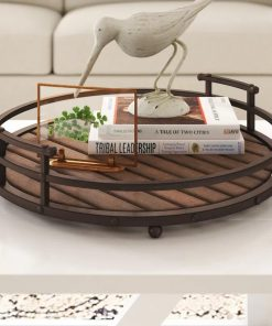 Makola Round Iron Frame Slatted Wood Decorative Trays
