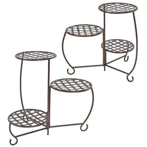 Sante Set of 2 Checkered Triple Potted Plant Stand