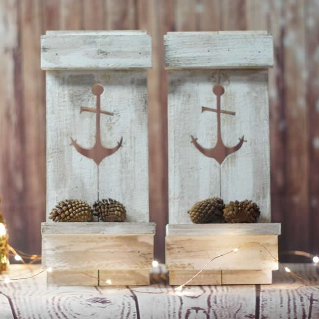 Marble Rustic Nautical Anchor Pallet Wall Candle Sconce Decor