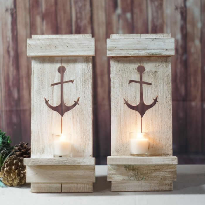Marble Rustic Nautical Anchor Pallet Wall Candle Sconce Decor Mocome