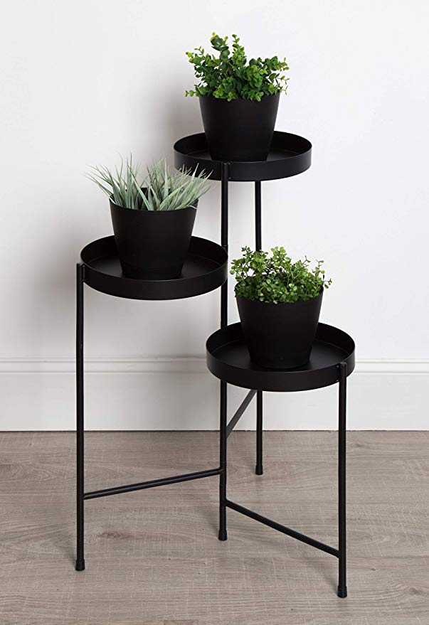 Marbled Mid-Century Metal Flower Multi-Tiered Plant Stand