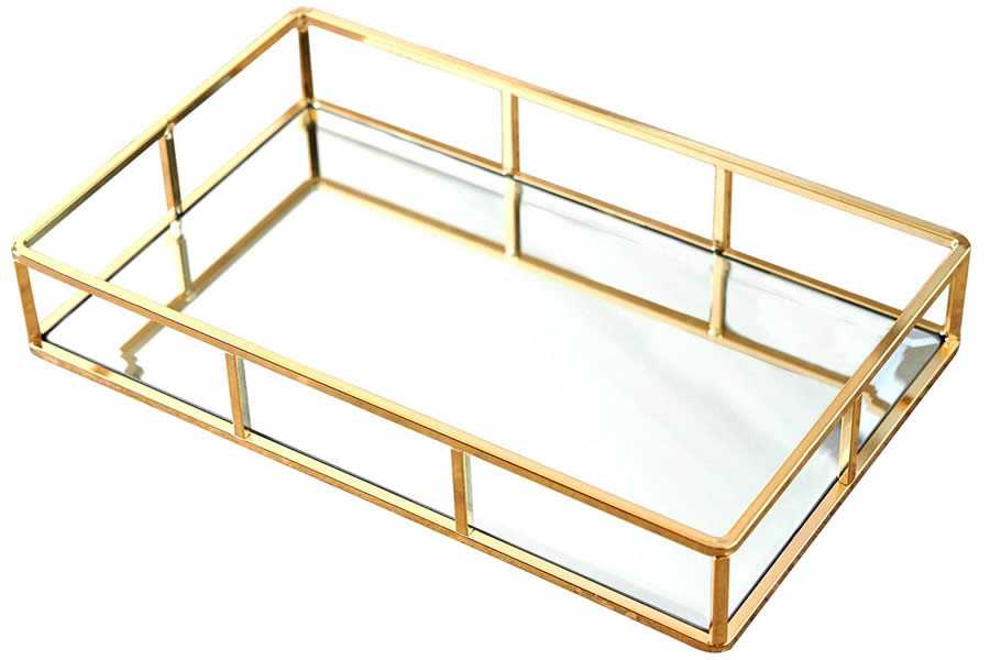 Marie Rectangle Gold Mirrored Decorative Tray