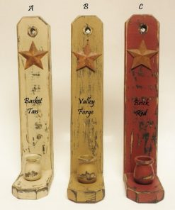 Meagan Wooden 3 Colors Primitive Wall Sconces With Rusty Star