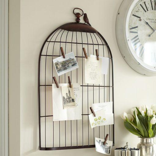 Metal Half Birdcage Photo Holder Wall Hanging