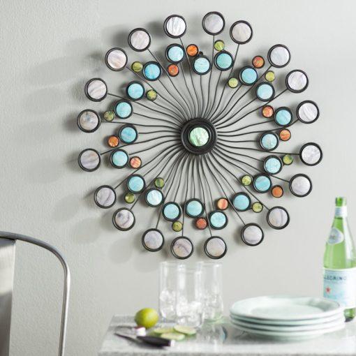 Metal Modern Multi-Colored Starburst Wall Decor