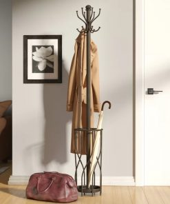 Satin Espresso Double Hook Metal Coat Rack With umbrella holder