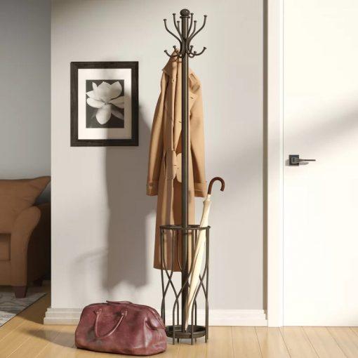 Satin Espresso Double Hook Metal Coat Rack With umbrella holder