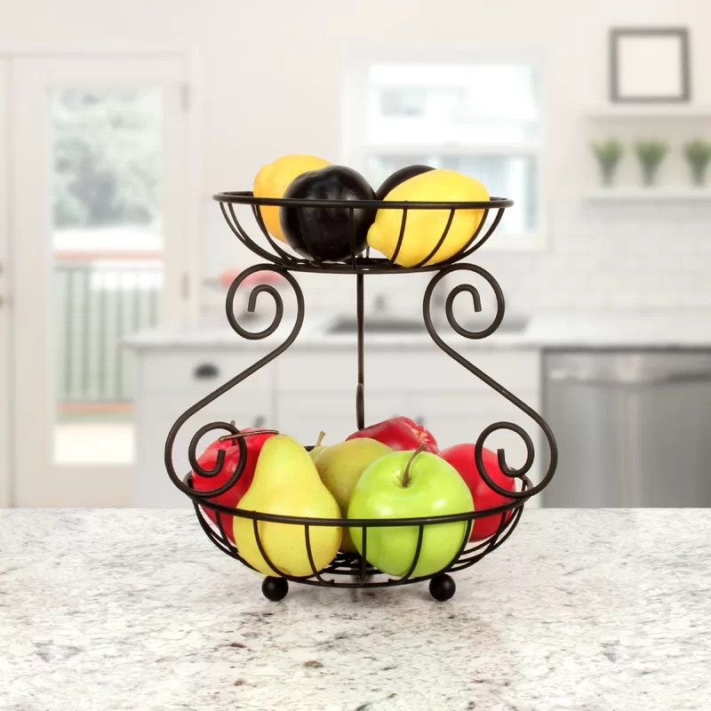 Minimalist Spectrum Diversified Scroll 2-Tier Fruit Basket