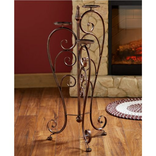Miramar Gracefully Curved Scrollwork Iron Pillar Candle Stand