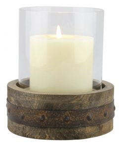 Miramar Industrial Rustic Wooden Pillar Candle Holder with Rust Trim And Removable Glass Cylinder