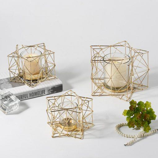 Mistral Golden Star Shape Metal Votive Glass Candle Holder