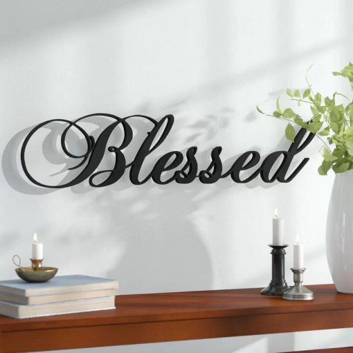 Modern Blessed Steel Wall Decor in Black