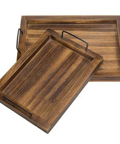 Soren Set of 2 Country Rustic Burnt Wood Rectangular Nesting Serving Trays With Metal Handles