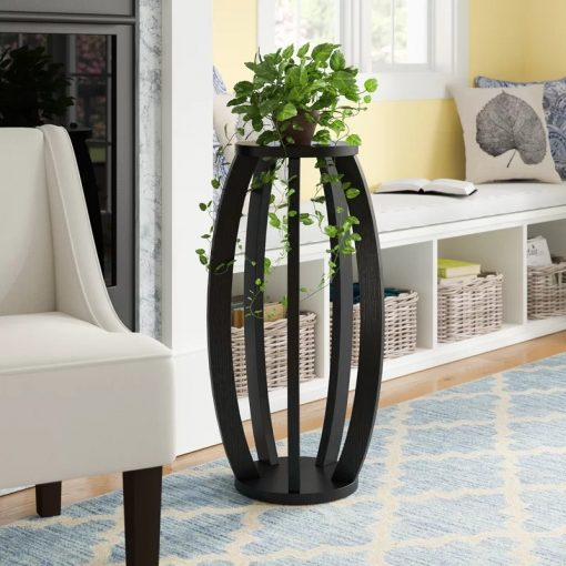 Cappuccino Modern Style Finished Round Top Indoor Plant Stand