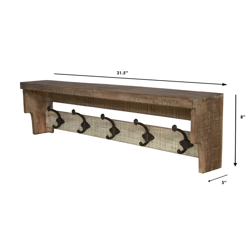 Soho Wall Mounted Coat Rack Entryway Shelf Wooden Organizer with Hooks Storage Shelves