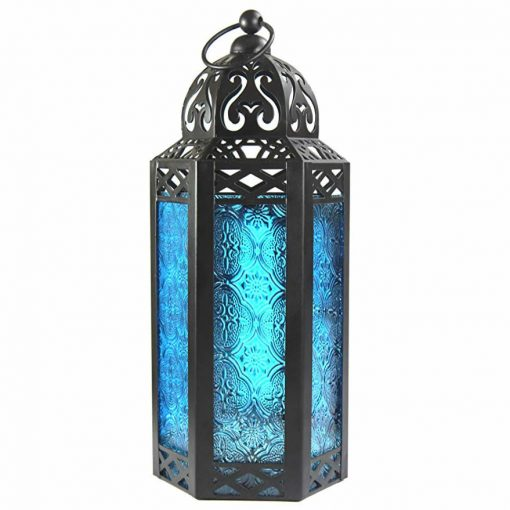 Oona Moroccan Lantern Blue Glass Candle Holder