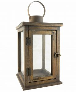 Paige Farmhouse Rustic Wooden Candle Hurricane Lantern