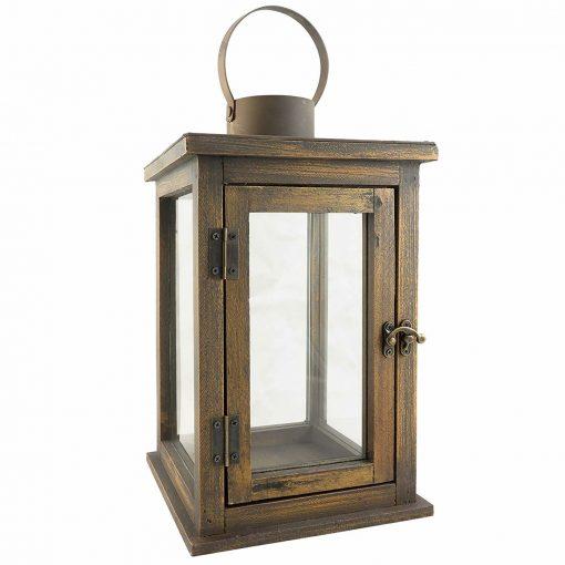 Paige Farmhouse Rustic Wooden Candle Hurricane Lantern