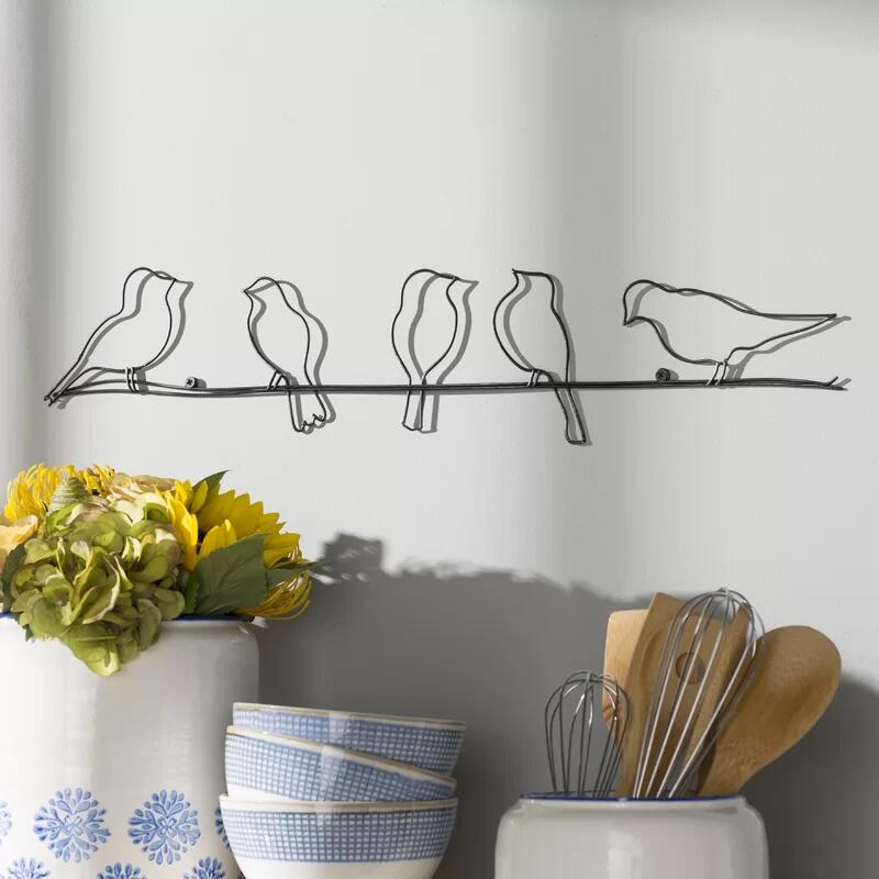 Perched Birds On A Wire Metal Wall Decor