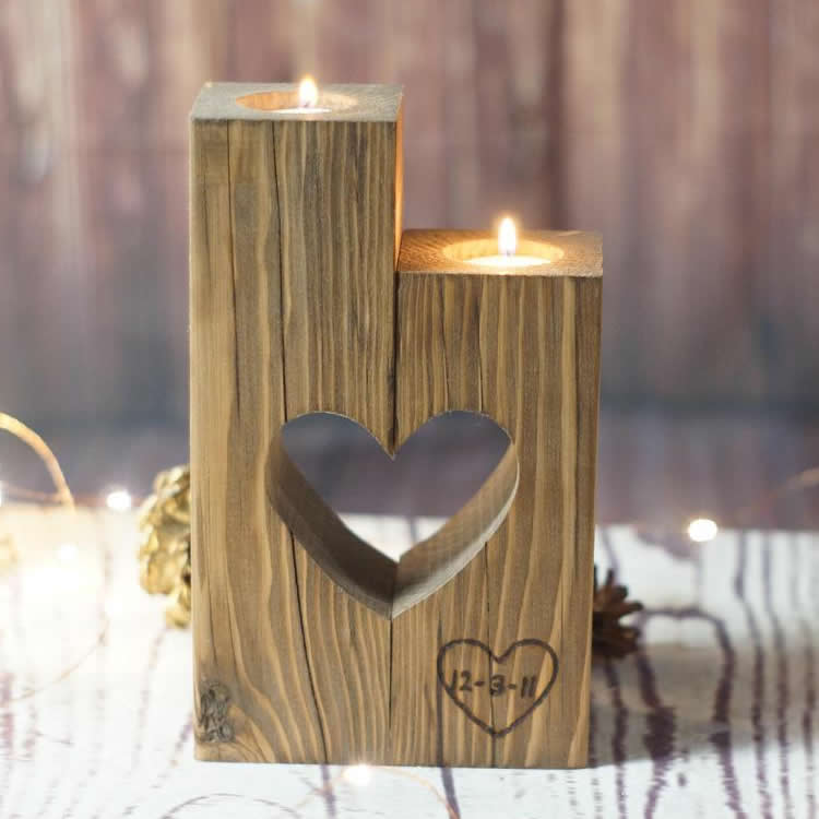 Petaled Rustic Reclaimed Wooden Heart Shape Tealight Candle