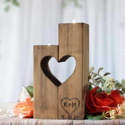 Petaled Rustic Reclaimed Wooden Heart Shape Tealight Candle Holders