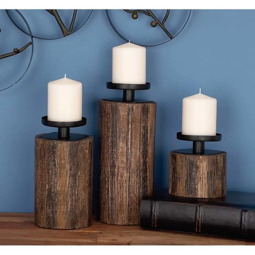 Pixilated Rustic 3 Piece Wood, Glass & Metal Candle Holders Set