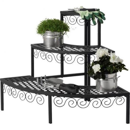 Poppin 3 Tier Plant Stand Flower Pot Rack With Quarter Round Plant Corner