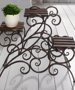 Rustic Metal Vine Patterns 3 Stairs Plant Stand Wood Trays Vine Patterns