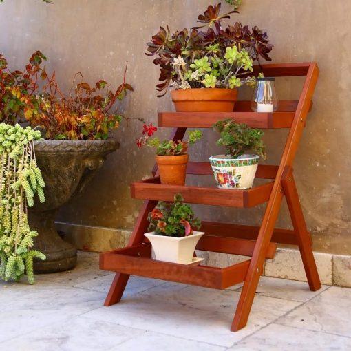 Vapor Surfside Eucalyptus Wood Outdoor 3-layer Plant Stand