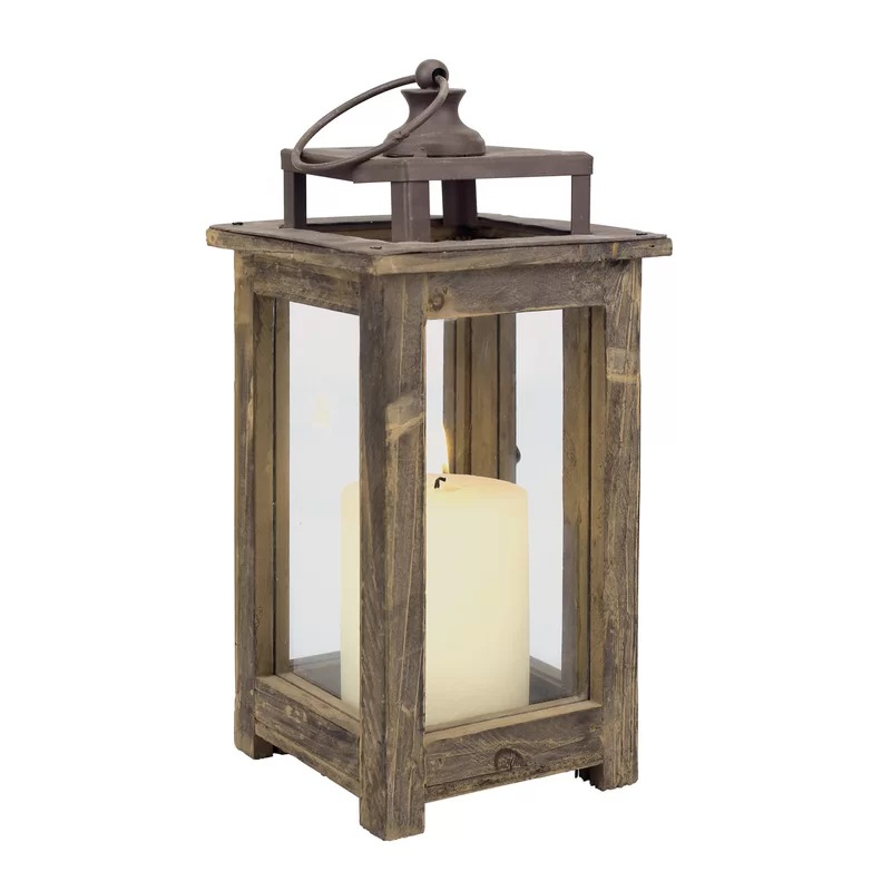 Privilege Decorative Wooden Farmhouse Rustic Lantern