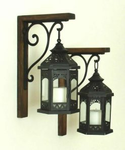 Purcell Rustic Farmhouse Wood Wall Decor Hanging Black Lanterns